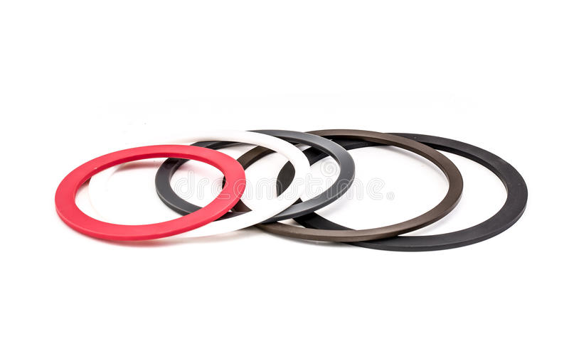 Set of gaskets isolated on white background stock image