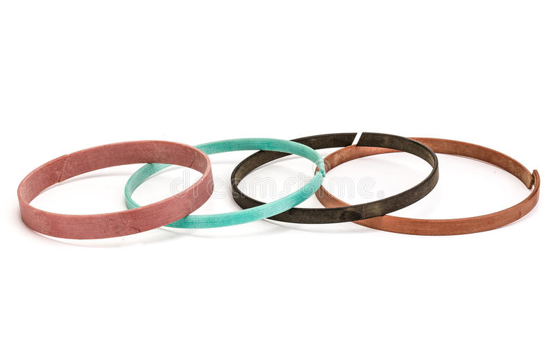Set of gaskets isolated on white background stock photography