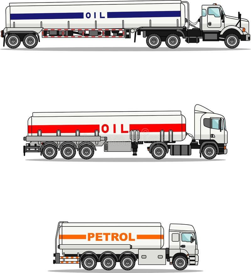 Set of gasoline trucks isolated royalty free illustration