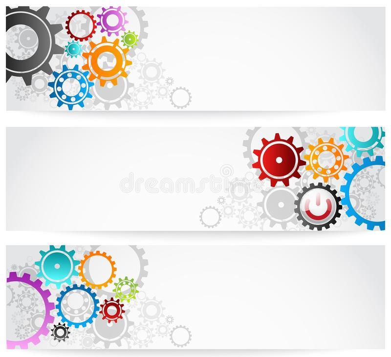 Download Set Of Gears Banner stock vector. Image of factory, data - 30845020