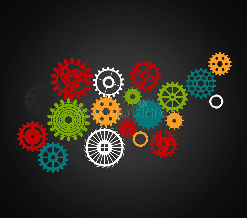 Set of gears of different sizes and shapes, full color on black vector illustration