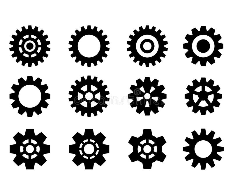 Set of the gears. Steampunk. Black gear wheels icons. Cog wheels. Vector illustration. Isolated on white background vector illustration