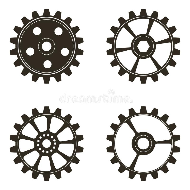 Set of gears on white background royalty free illustration