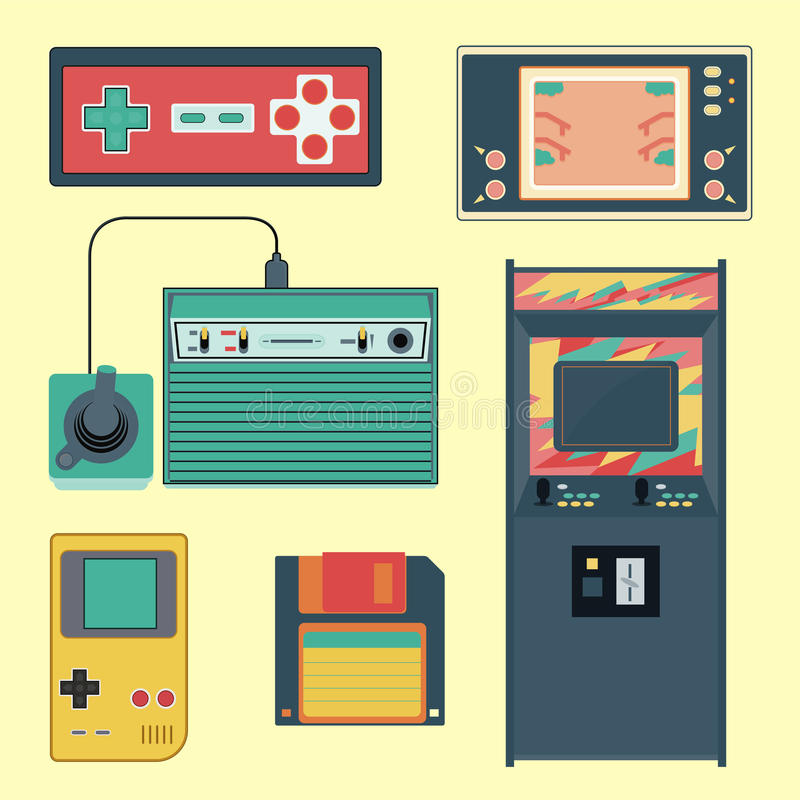 Set of geek gaming retro gadgets from the nineties. Old game entertainment devices of the 90s. Electronics from the 20th century vector illustration