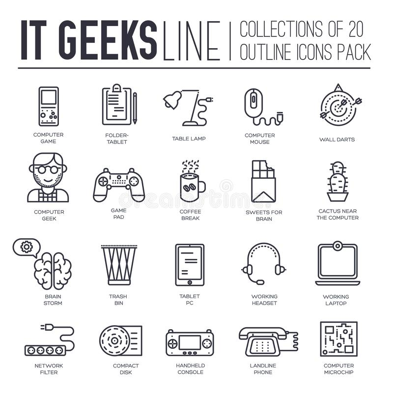 Set of IT geeks, gadgets, devices thin line icons. Set of IT geeks, gadgets, devices thin line icons on white background. Programmer, gambler suppliers outline royalty free illustration