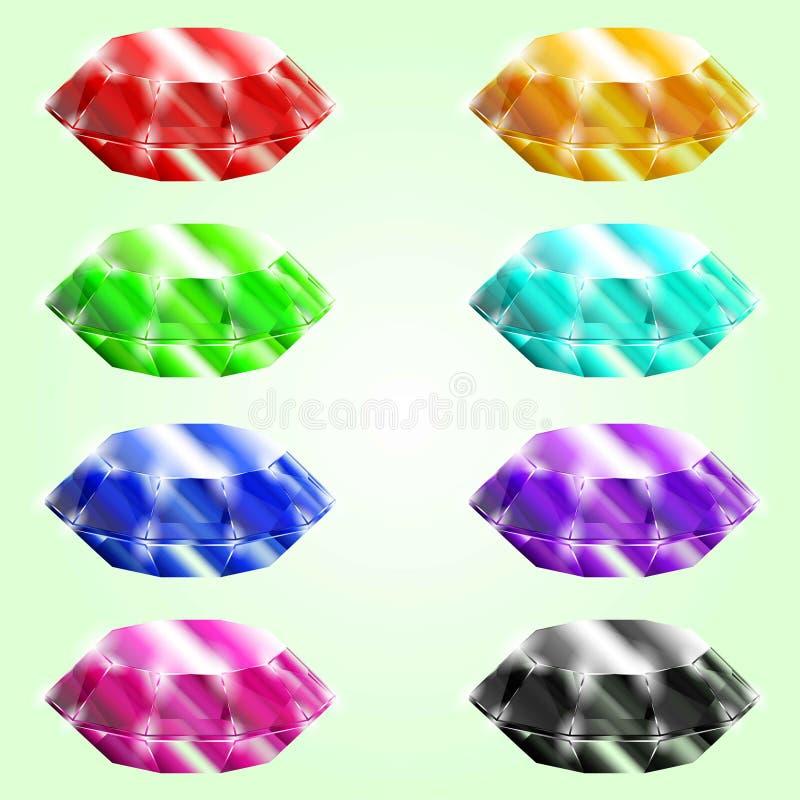 Set of gems. Set of different crystals,gemstones,diamonds. Isolated elements. Gui elements, games assets. menu for mobile games. EPS 10 illustration stock illustration