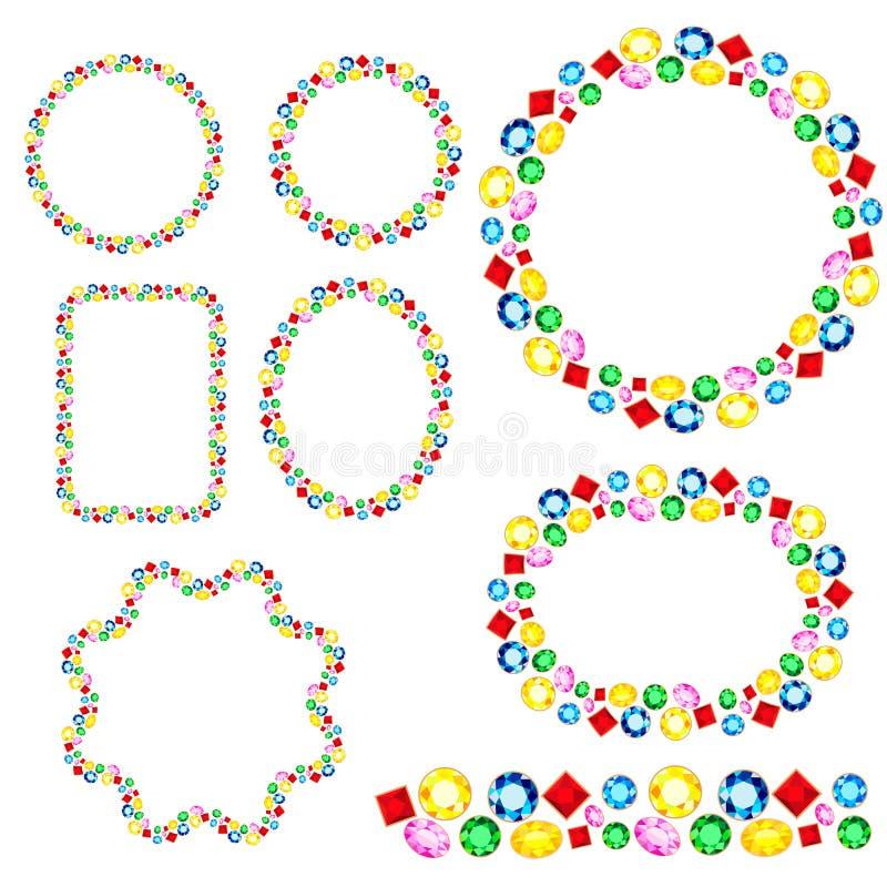 Set of precious stones frames, different shapes, vector illustration. Set of gemstones frames. Different shapes, vector jewelry illustration. Endless horizontal stock illustration