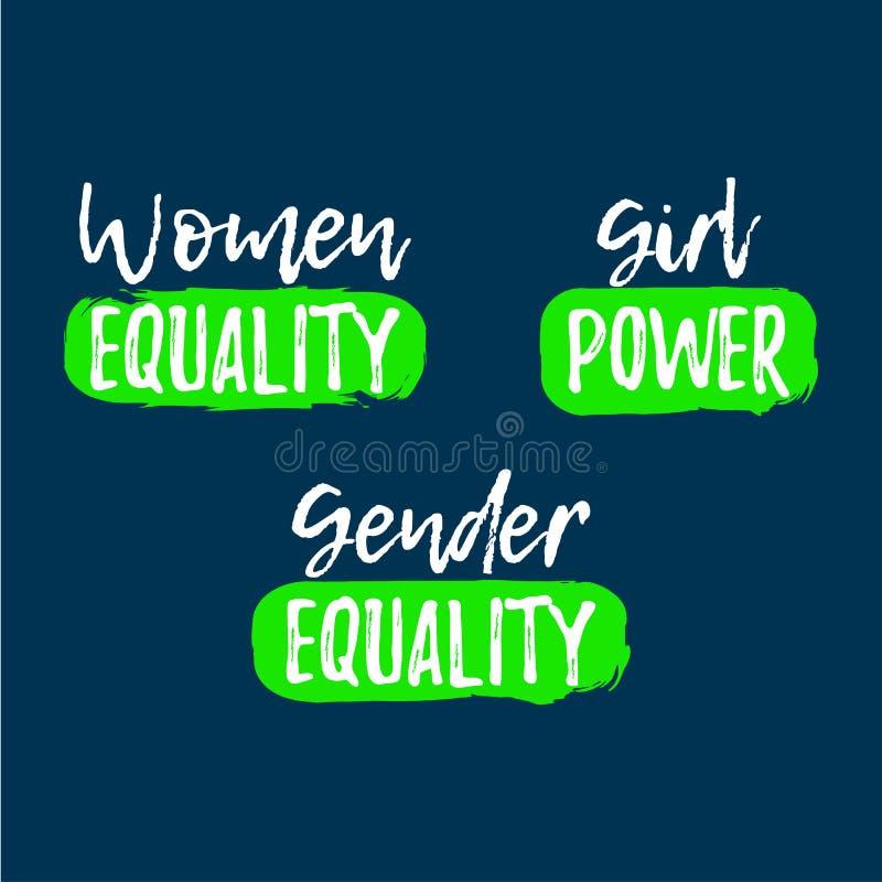 Set of Gender Equality label. Font with Brush. Equal Rights. Badges. Vector illustration icon royalty free illustration