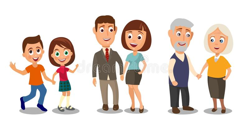 Set generations couples holding hands. Different ages from child royalty free illustration