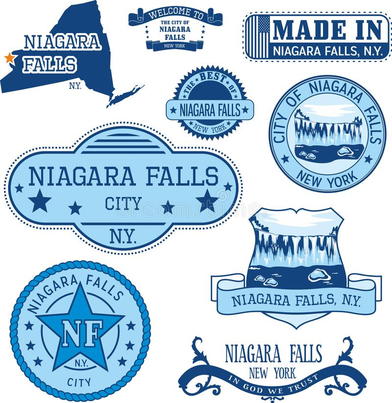 Set of generic stamps and signs of Niagara Falls, NY. Set of generic stamps and signs of Niagara Falls city, New York state stock illustration