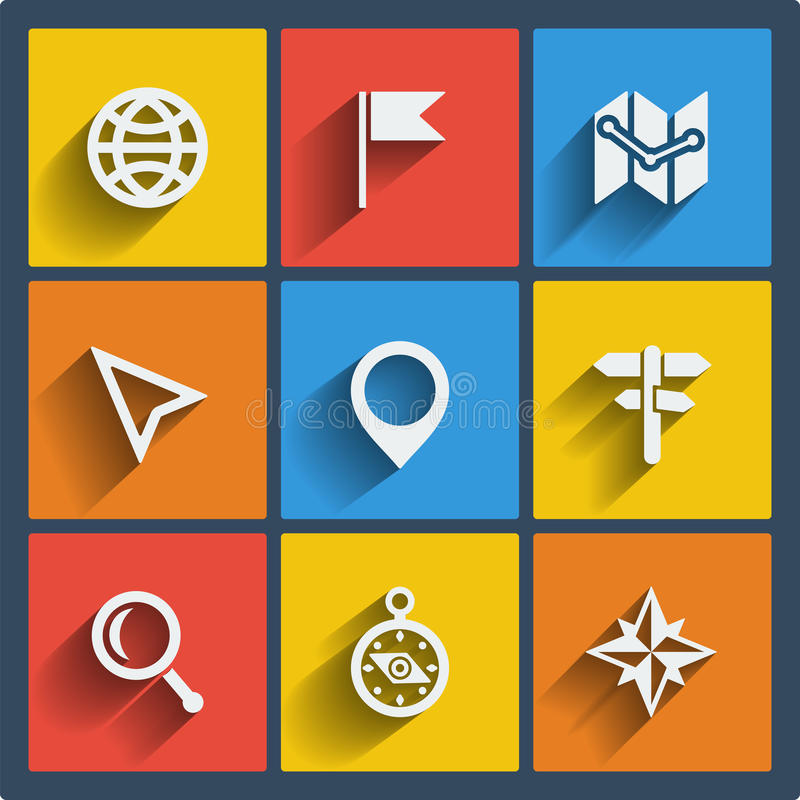 Set of 9 geo web and mobile icons. Vector. royalty free illustration