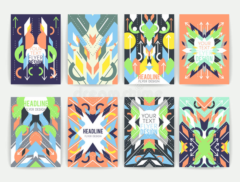 Set of geometric abstract colorful flyers vector illustration