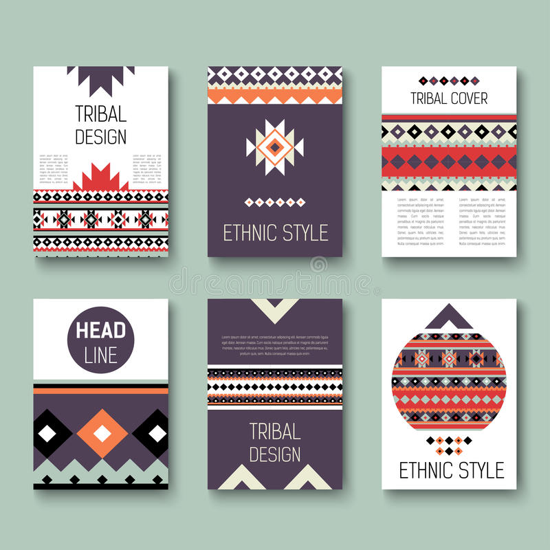 Set of geometric abstract colorful flyers. ethnic style brochure templates. collection of modern tribal cards. royalty free illustration