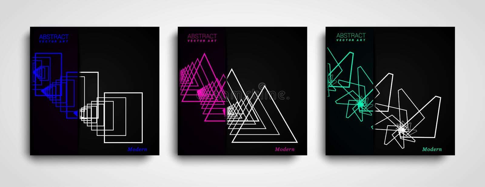 Set of Geometric Abstract shapes compositions. Trendy minimal design. Modern geometric shapes color covers set. Set of Geometric Abstract shapes compositions vector illustration