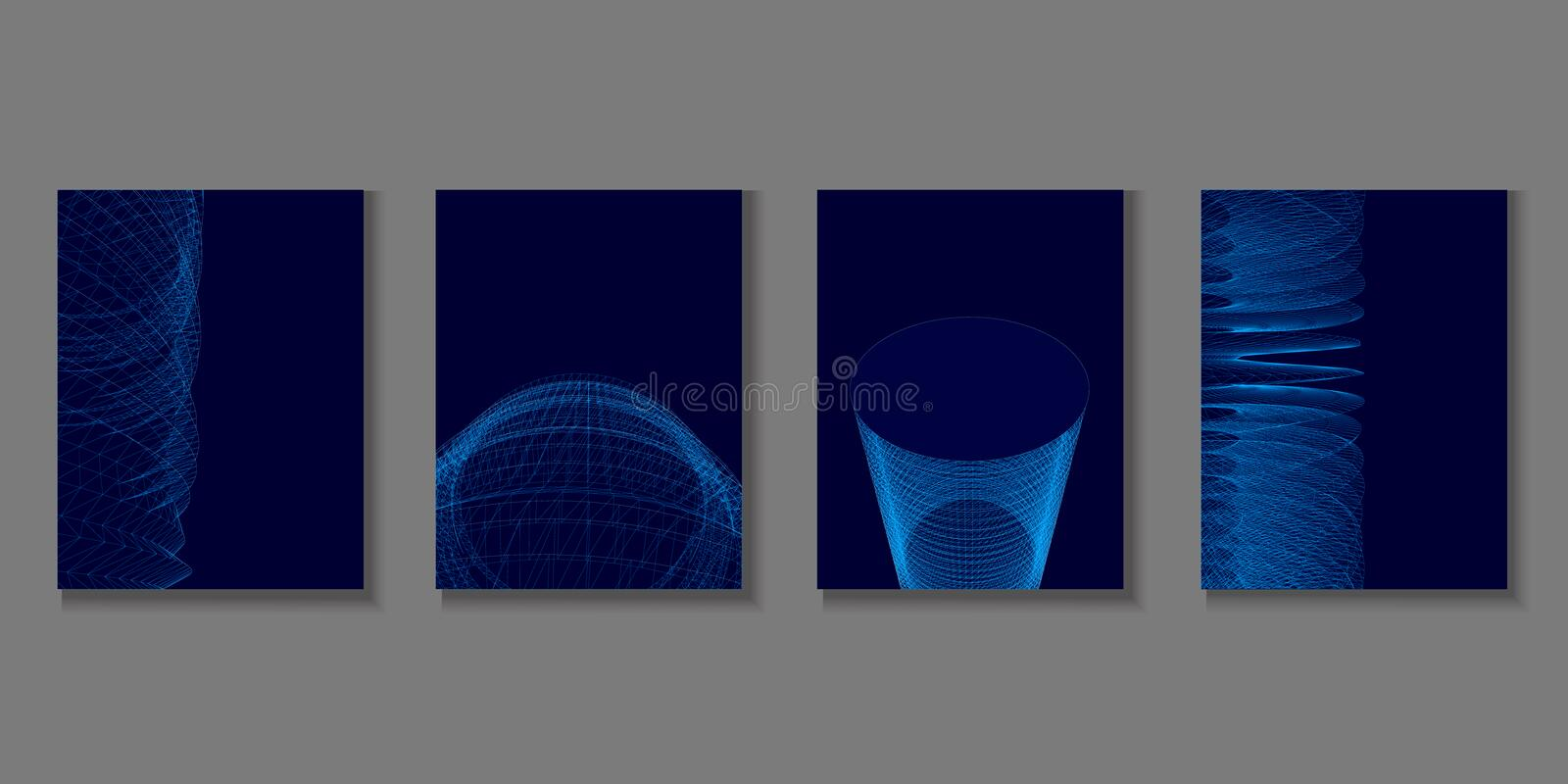 Set with geometric brochures. Four polygonal background of blue lines on a dark background. 3D. Vector illustration vector illustration