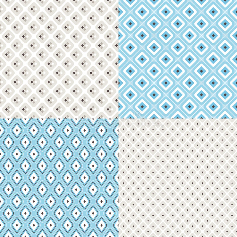 Set of geometric colorful seamless patterns. Collection of 4 geometric colorful seamless pattern background. Great for web page backgrounds, wallpapers stock illustration