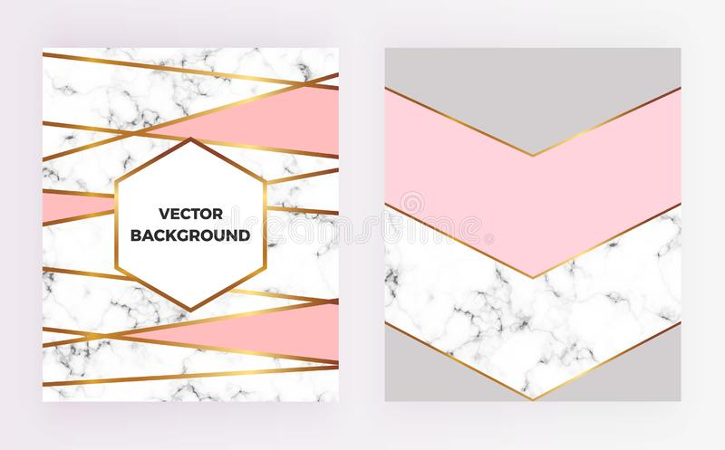 Set geometric designs posters with gold, cream, grey, pastel pink colors and marble texture stripesr background. Template for invi royalty free illustration