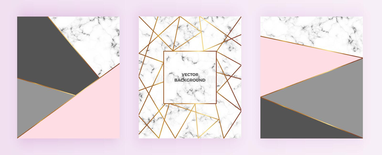 Set geometric designs posters with gold line, grey, pastel pink colors and marble texture background. Template for invitation, ca. Rd, design, banner, wedding vector illustration