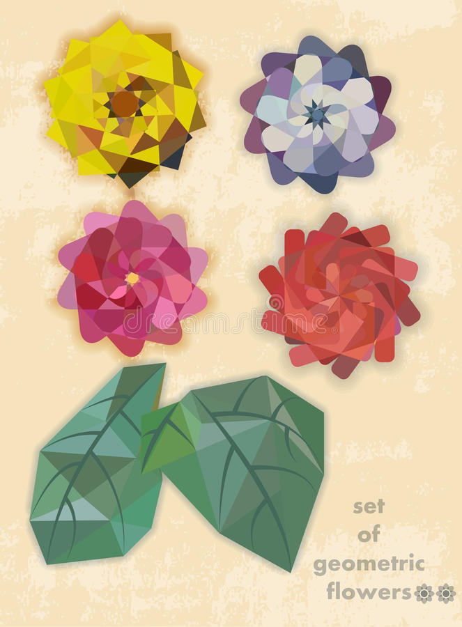 Set of geometric flowers royalty free stock photography