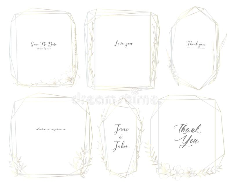 Set of geometric frame, Hand drawn flowers, Botanical composition, Decorative element for wedding card, Invitations vector illustration