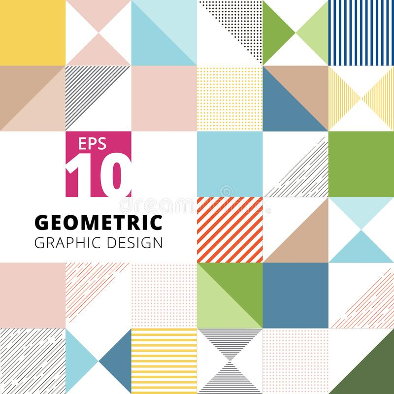 Set of geometric graphic design colorful pattern background, square, triangle, lines, dots, Vector vector illustration
