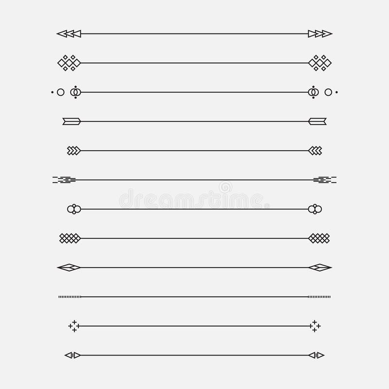 Set of geometric lines, vector illustration stock illustration