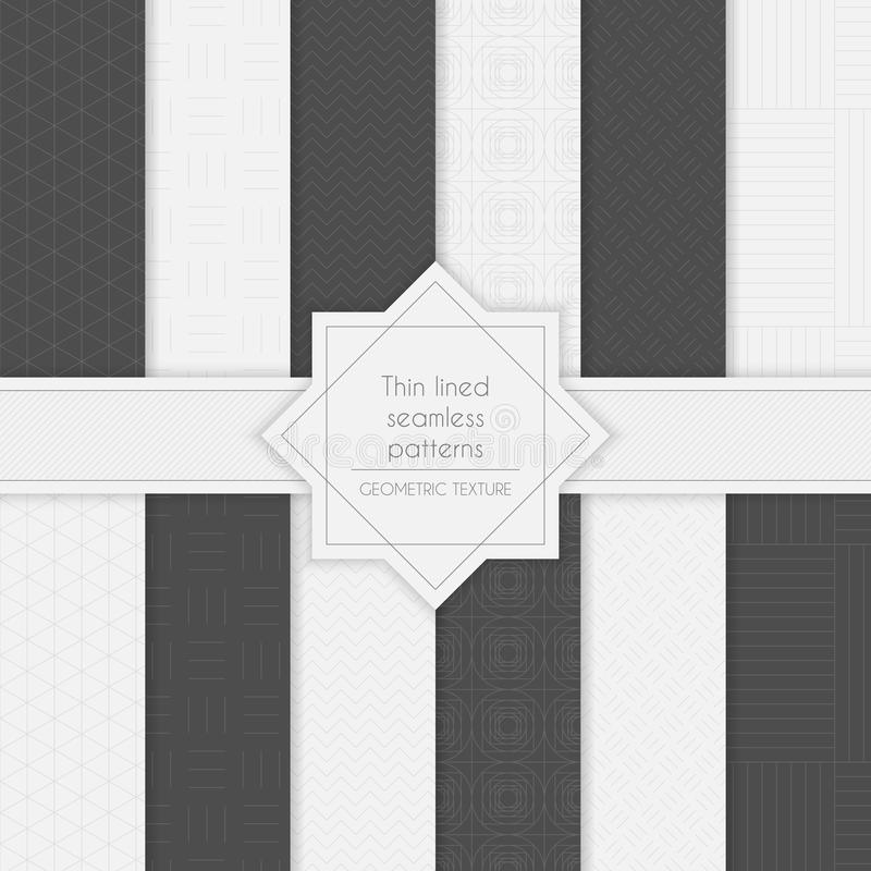 Set of geometric minimalistic thin lined seamless patterns in light and dark colors. vector illustration