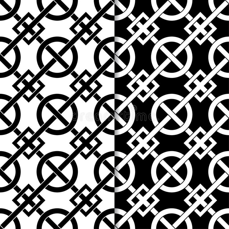 Set of geometric ornaments. Black and white seamless patterns vector illustration