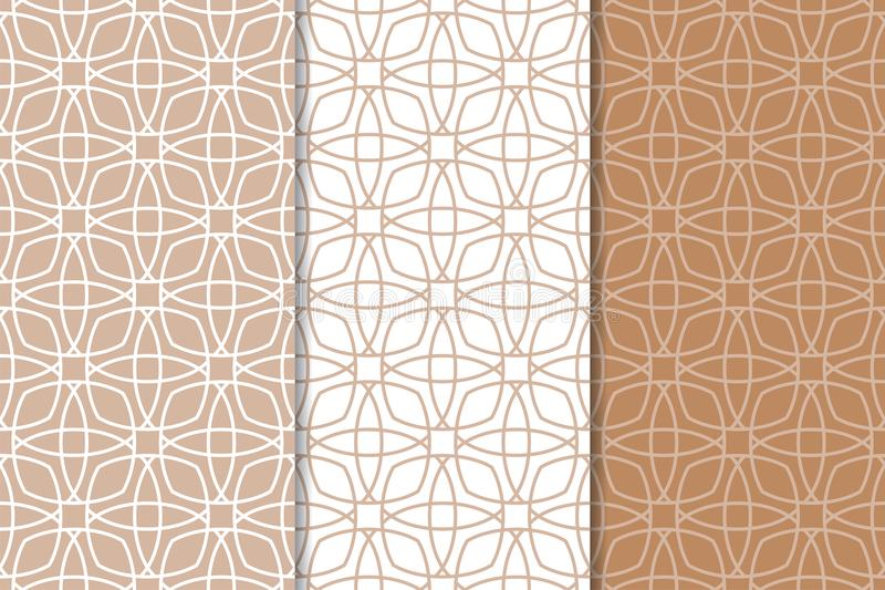 Set of geometric ornaments. Brown and white seamless patterns royalty free illustration