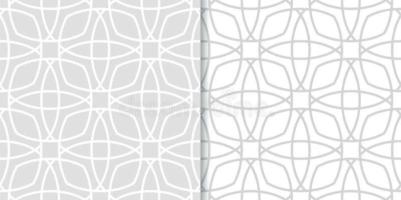 Set of geometric ornaments. Light gray seamless patterns royalty free illustration