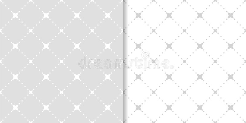 Set of geometric ornaments. Light gray seamless patterns stock illustration