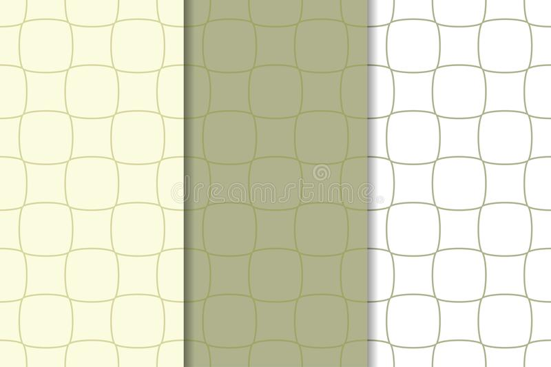 Set of geometric ornaments. Olive green and white seamless patterns royalty free illustration