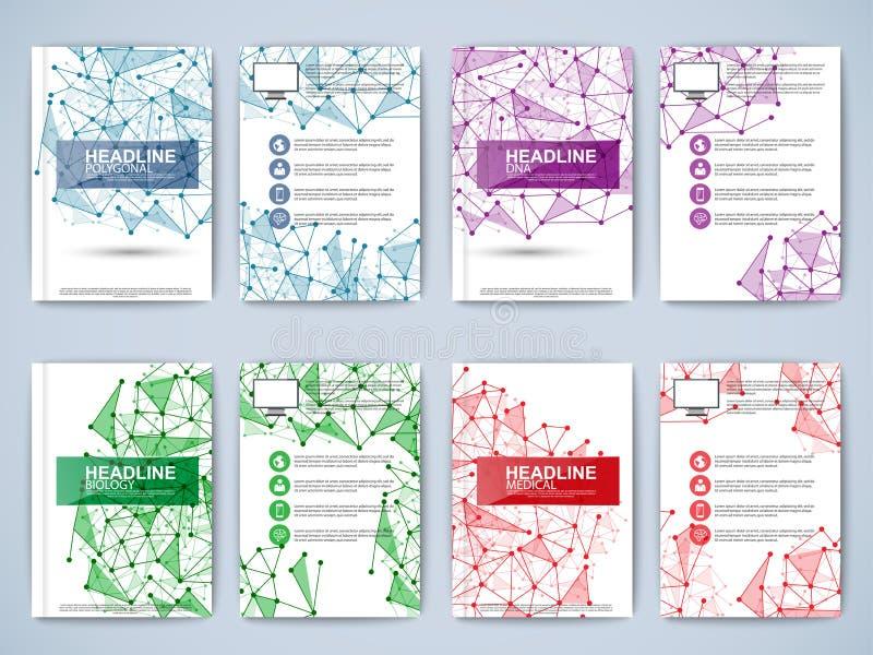 Set of geometric paper brochure stock illustration