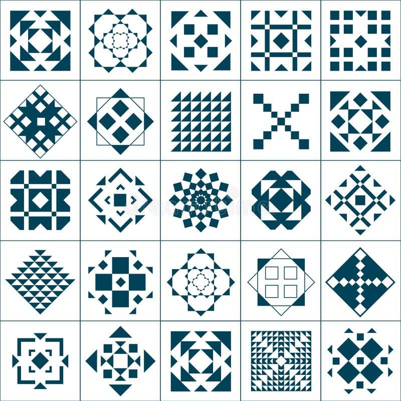 Set geometric patterns stock illustration