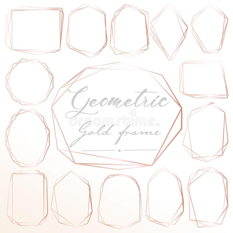 Set of geometric pink gold frame, Decorative element for wedding card, Invitations and logo. royalty free illustration