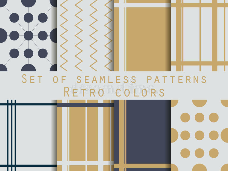 Set of geometric seamless patterns. Gold and silver colors. Retro. Vector royalty free illustration