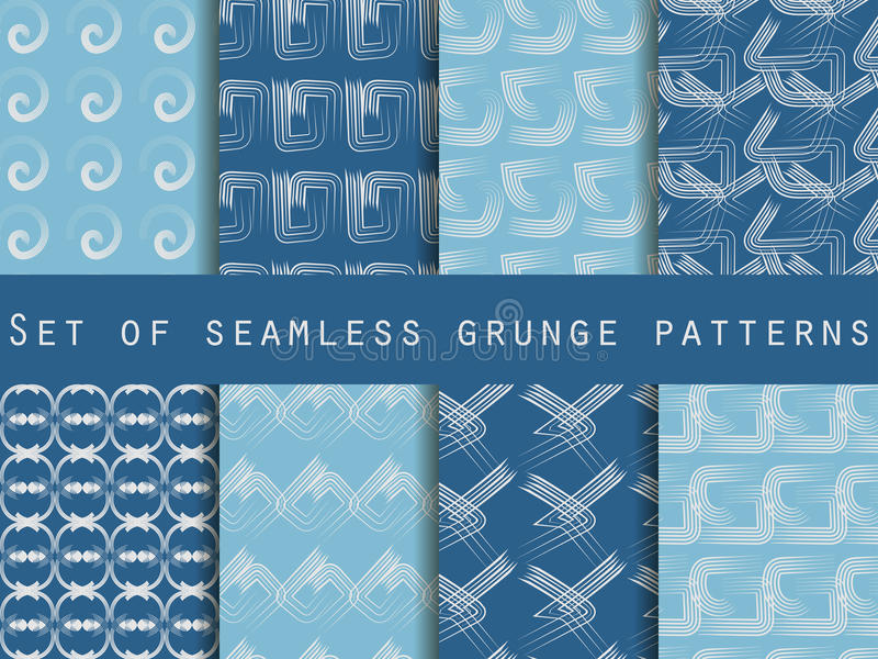 Set of geometric seamless patterns. The pattern of the lines. Collection of vector illustrations. stock illustration