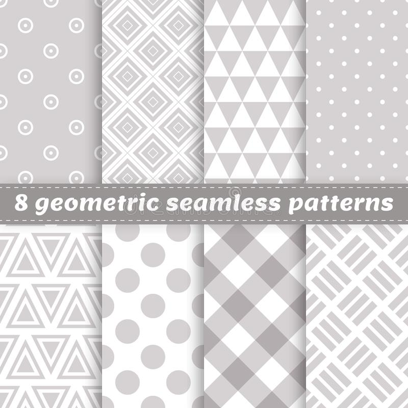 Set of 8 geometric seamless vector patterns with different shape royalty free illustration