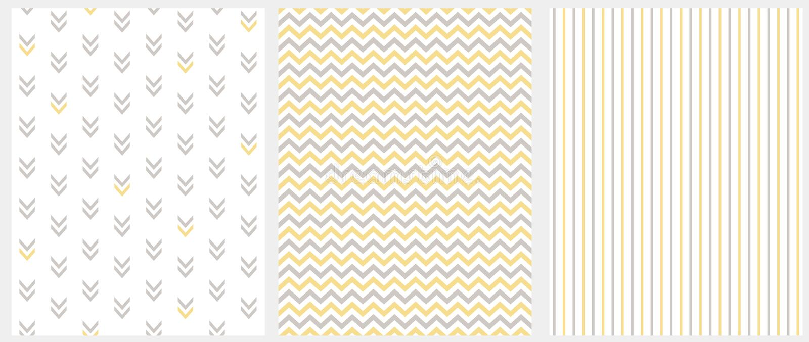Set of 3 Geometric Seamless Vector Patterns. Gray and Yellow Chevron, Stripes and Abstract Arrows Isolated on a White. stock illustration
