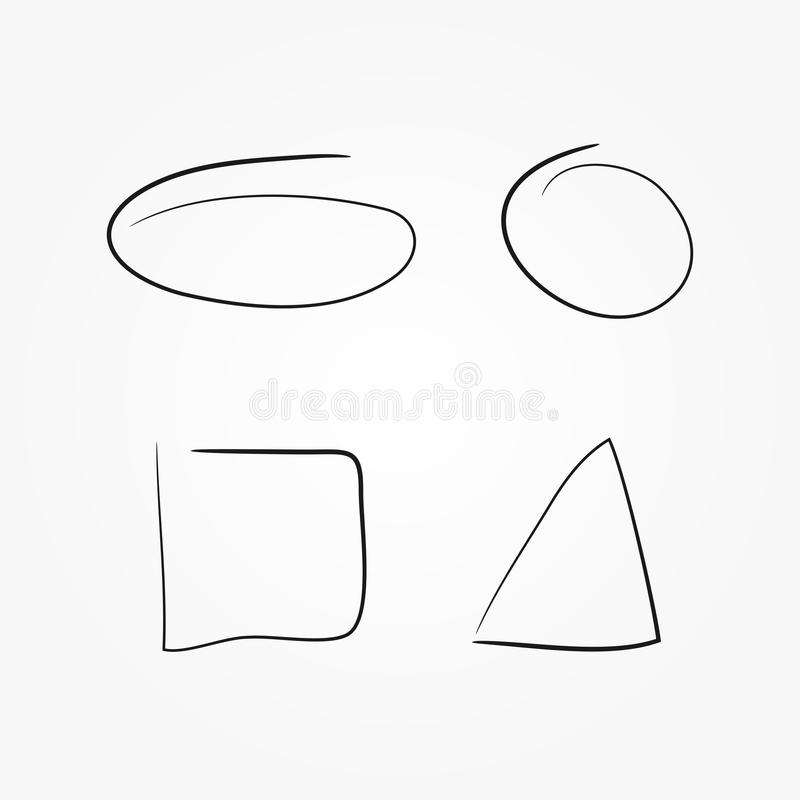 Set of geometric shapes drawn by hand. Isolated oval, circle, square, triangle. Sketch, doodle, scribble. Vector illustration stock illustration