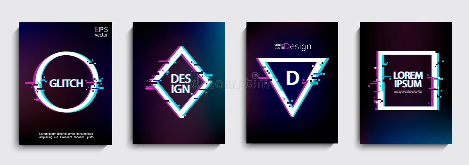 Set of geometric shapes, frames with glitch style. Set of geometric shapes, frames with glitch style on dark background. Vector illustration with geometric stock illustration