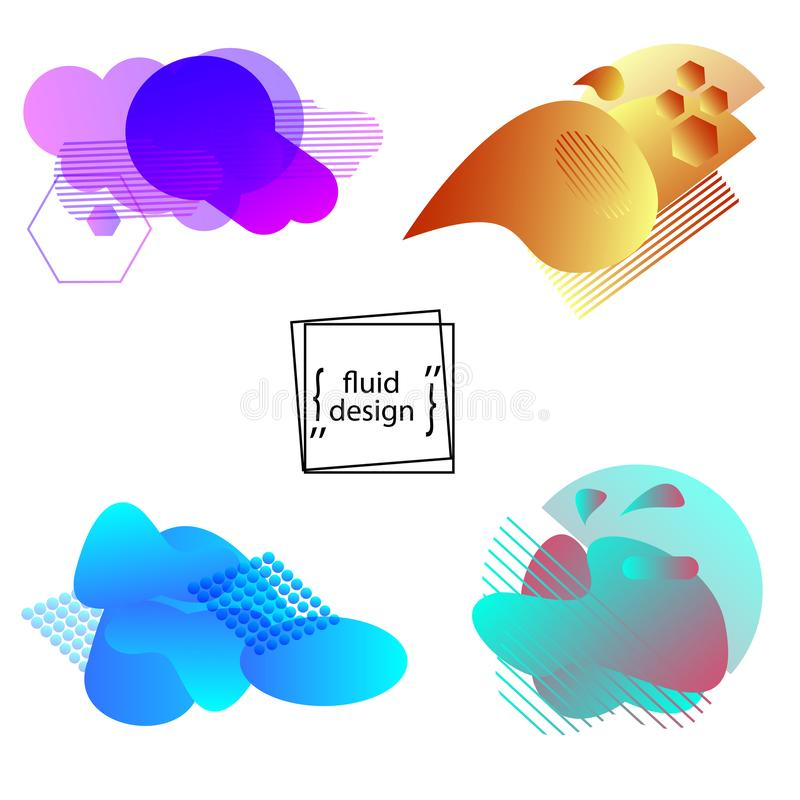 Set  geometric shapes of liquid color. Trendy fluid gradient elements for logos, banners and other creative projects. Minimal abst. Ract design. Vector vector illustration
