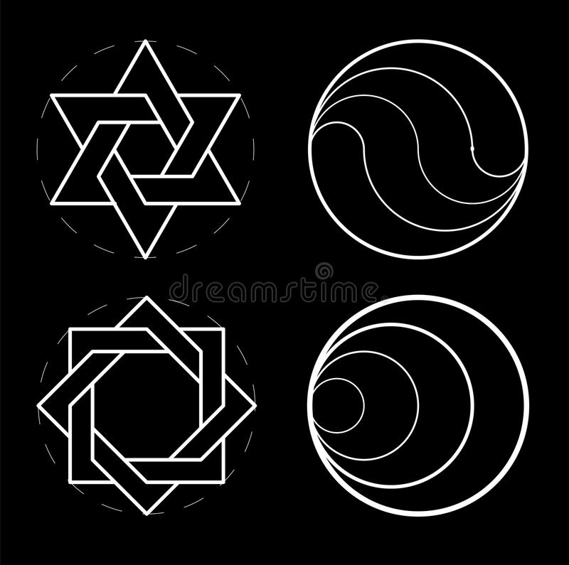 Set of geometric shapes. Sacred geometry, golden ratio. Construction of figures. The circular composition. Construction royalty free illustration