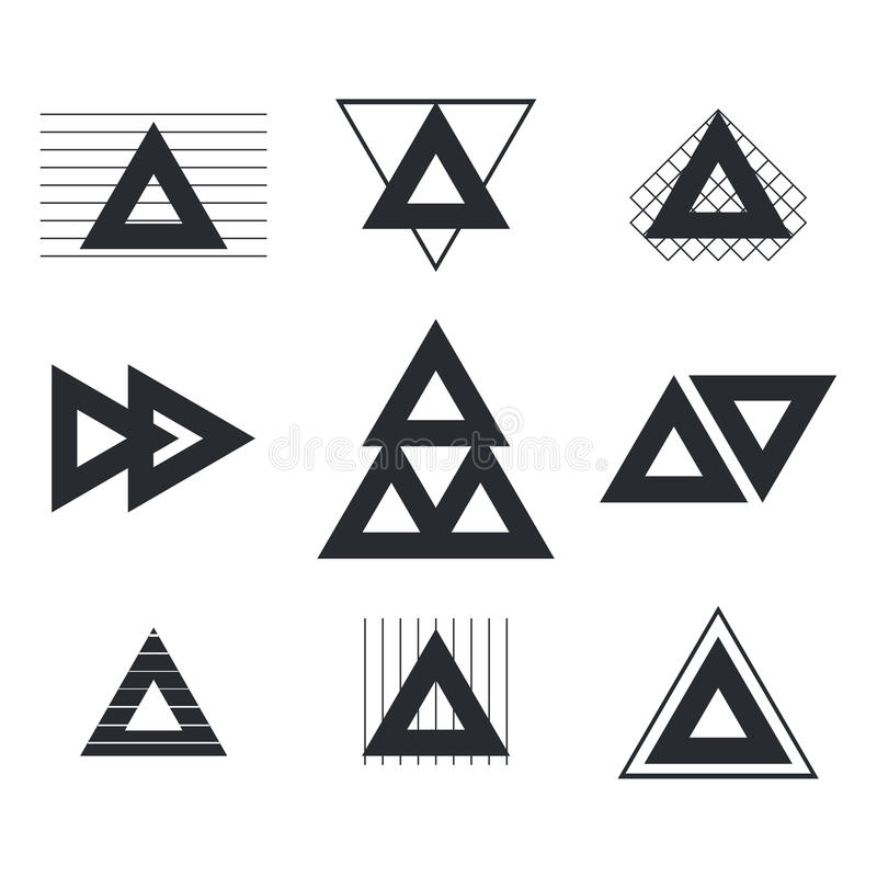 Set of geometric shapes triangles, lines for your design. Trendy stock illustration