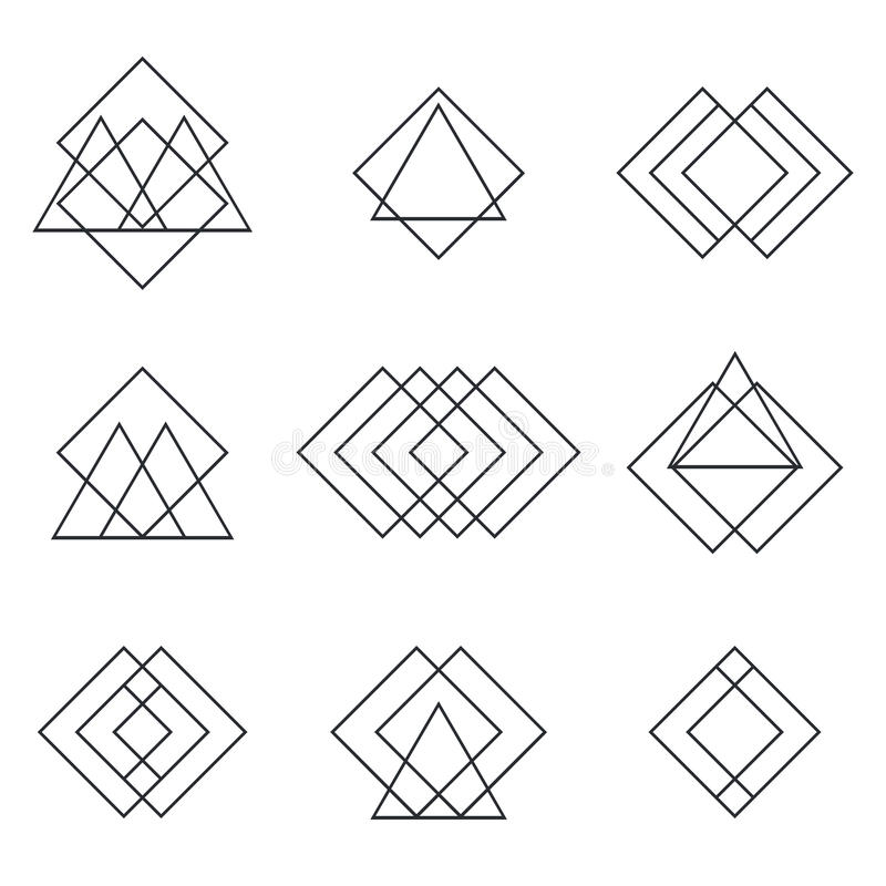 Set of geometric shapes triangles, lines for your design. Trendy royalty free illustration