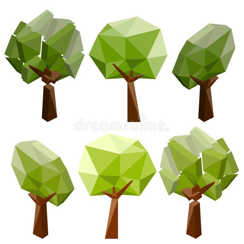 A set of geometric tree on a white background royalty free illustration