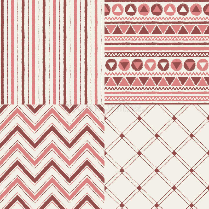 Set of geometrical brush drawn vector seamless patterns royalty free illustration