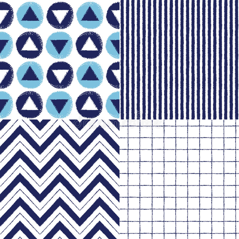 Set of geometrical brush drawn vector seamless patterns stock illustration