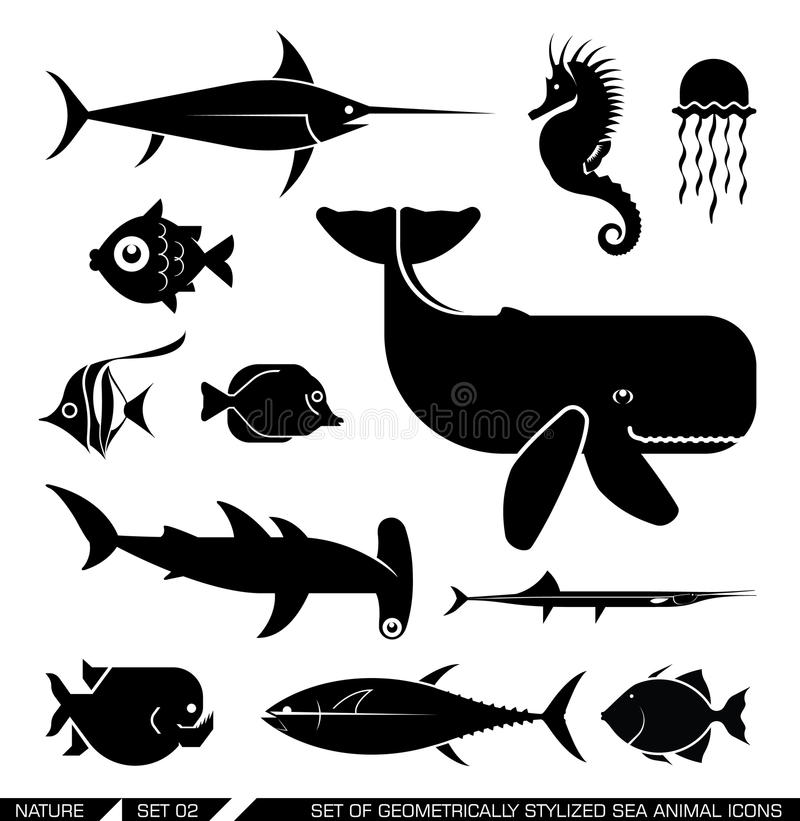 Set of geometrically stylized sea animal icons. Set of various sea animal icons: Whale, hammerhead shark, swordfish, piranha, seahorse, fish. Vector illustration royalty free illustration
