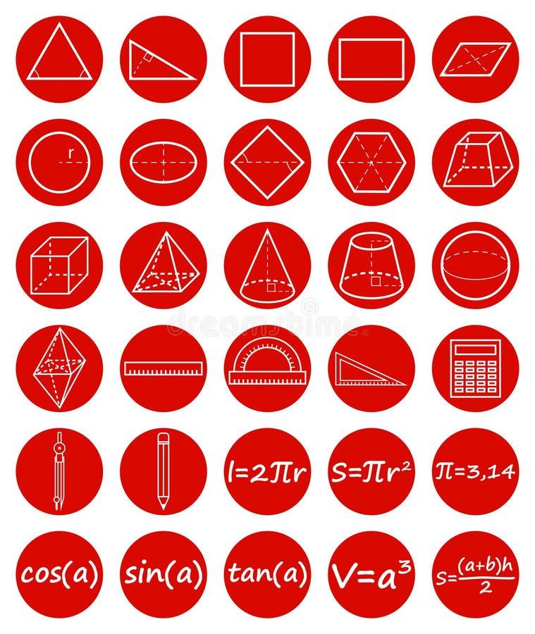 Set of geometry icons stock illustration